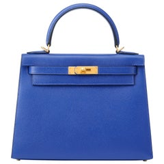 Hermes Kelly 28cm Personalized Blue Electric and Black Epsom with Gold