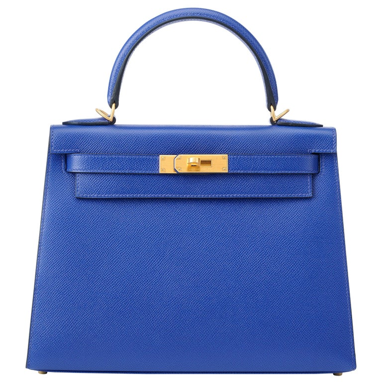 Hermes Kelly 28cm Personalized Blue Electric and Black Epsom with Gold For Sale