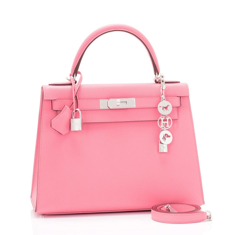Hermes Kelly 28cm Rose Confetti Pink Sellier Shoulder Bag Y Stamp, 2020 Brand New in Box. Store Fresh. Pristine Condition (with plastic on hardware). Just purchased from Hermes store; bag bears new interior 2020 Y stamp. Perfect gift! Comes full set