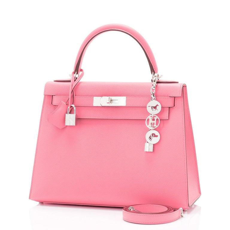 Women's Hermes Kelly 28cm Rose Confetti Pink Sellier Shoulder Bag Y Stamp, 2020 For Sale