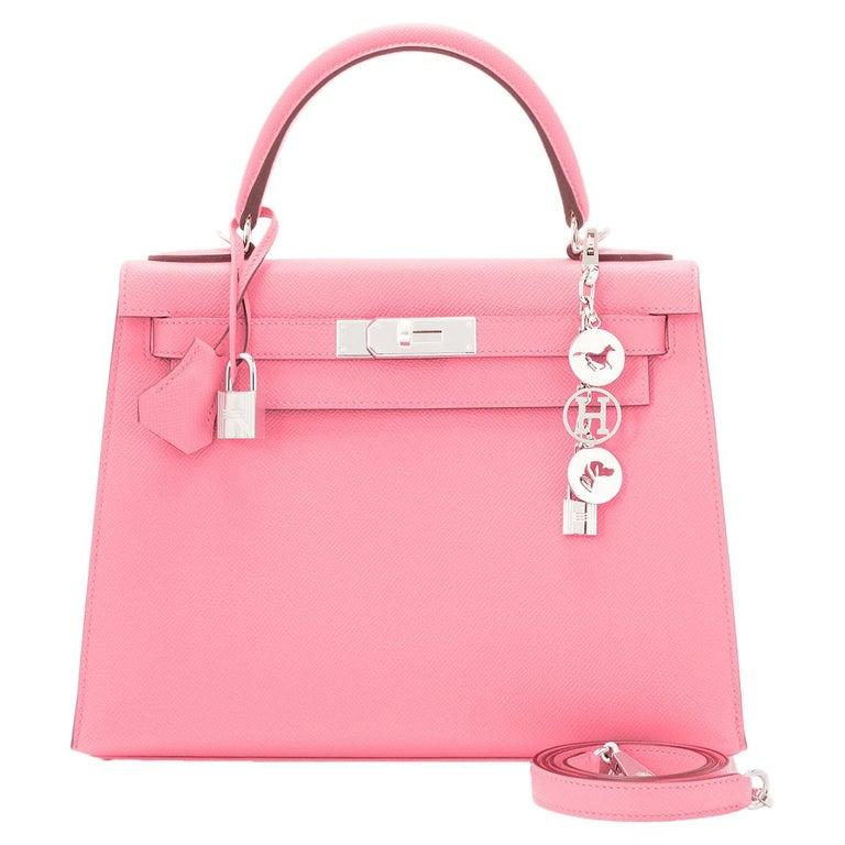 Hermes Kelly 28cm Rose Confetti Pink Sellier Shoulder Bag Y Stamp, 2020 For Sale