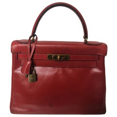Hermes kelly 28cm Rouge Box vintage Gold Hardware