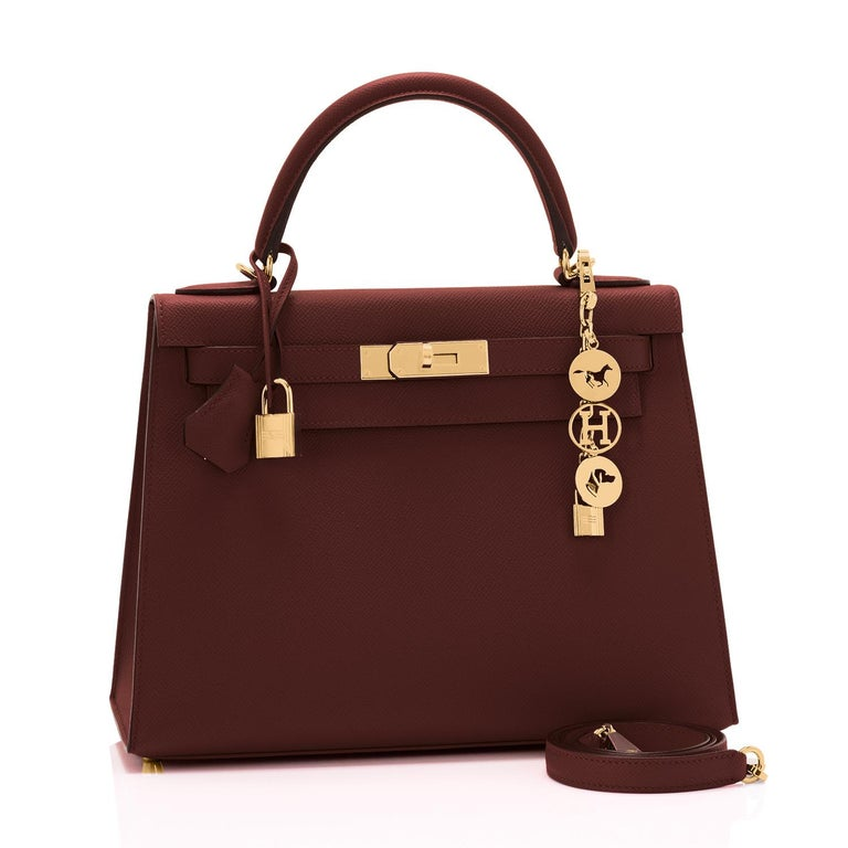 Hermes Kelly 28cm Rouge H Hermes Epsom Sellier Gold Hardware Y Stamp, 2020 Brand New in Box. Store Fresh. Pristine Condition (with plastic on hardware).  Just purchased from Hermes store; bag bears new interior 2020 Y stamp.  Perfect gift!  Comes