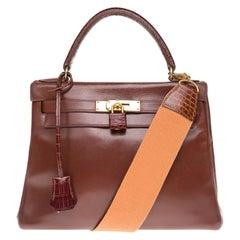 Hermes Kelly 28cm strap handbag  in brown calf customized with brown crocodile