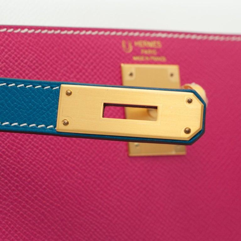 Women's or Men's Hermès Kelly 28cm Tri-Color Special Order Epsom Leather Brushed Gold Hardware For Sale