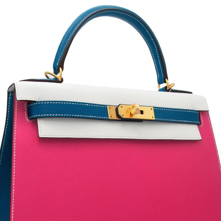 Hermès Kelly 28cm Tri-Color Special Order Epsom Leather Brushed Gold Hardware For Sale 1