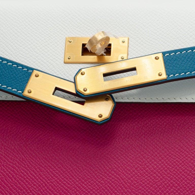 Hermès Kelly 28cm Tri-Color Special Order Epsom Leather Brushed Gold Hardware For Sale 2
