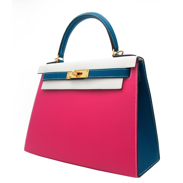 Hermès Kelly 28cm Tri-Color Special Order Epsom Leather Brushed Gold Hardware For Sale 3