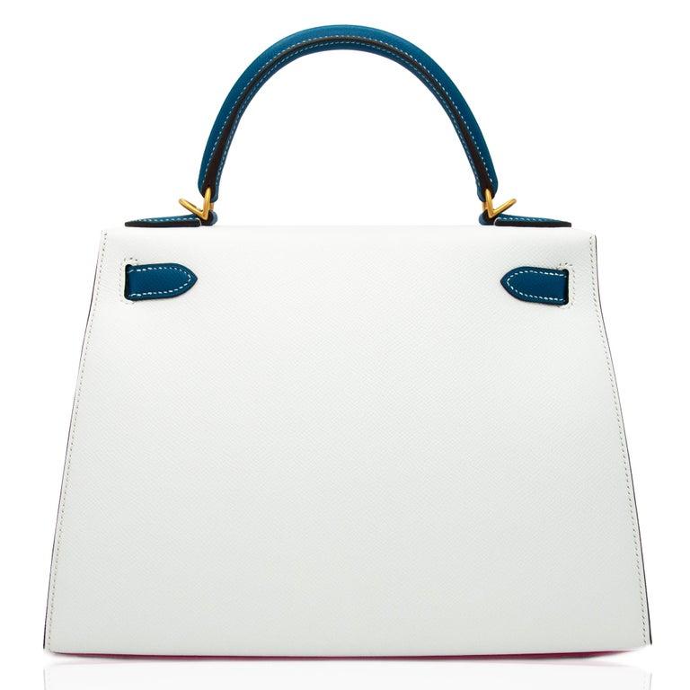 Hermès Kelly 28cm Tri-Color Special Order Epsom Leather Brushed Gold Hardware For Sale 4
