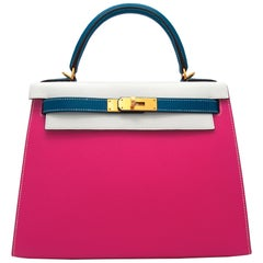 Hermès Kelly 28cm Tri-Color Special Order Epsom Leather Brushed Gold Hardware