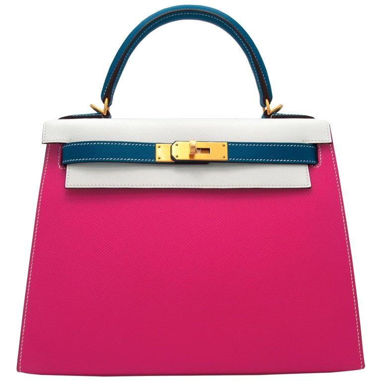 Hermès Kelly 28cm Tri-Color Special Order Epsom Leather Brushed Gold Hardware For Sale