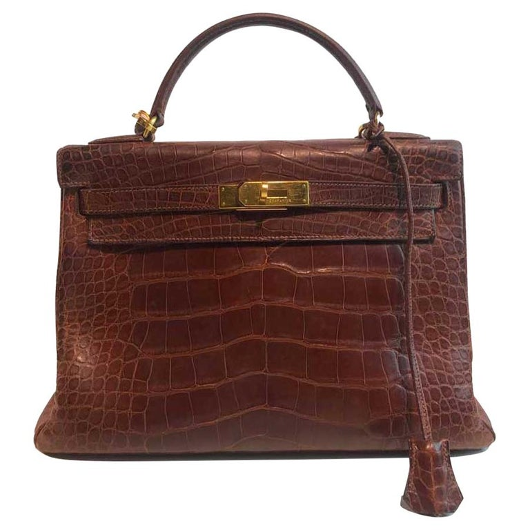 HERMES Kelly 32 Alligator And Golden Jewelry For Sale