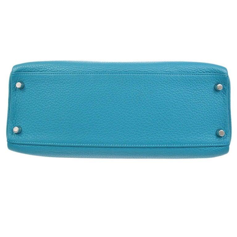 Women's Hermes Kelly 32 Aqua Blue Leather Top Handle Satchel Shoulder Tote Bag  For Sale