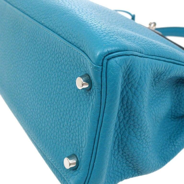 Hermes Kelly 32 Aqua Blue Leather Top Handle Satchel Shoulder Tote Bag  For Sale 1