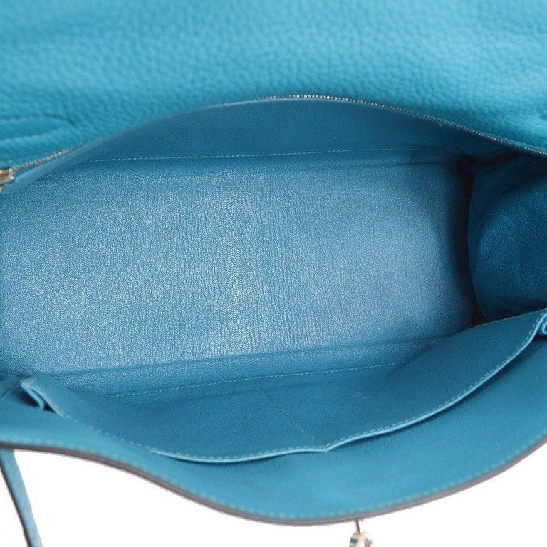Hermes Kelly 32 Aqua Blue Leather Top Handle Satchel Shoulder Tote Bag  For Sale 2