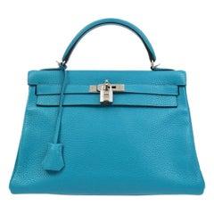 Hermes Kelly 32 Aqua Blue Leather Top Handle Satchel Shoulder Tote Bag