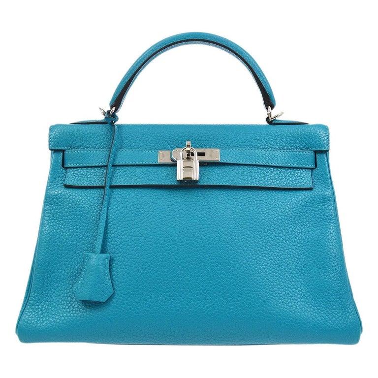 Hermes Kelly 32 Aqua Blue Leather Top Handle Satchel Shoulder Tote Bag  For Sale
