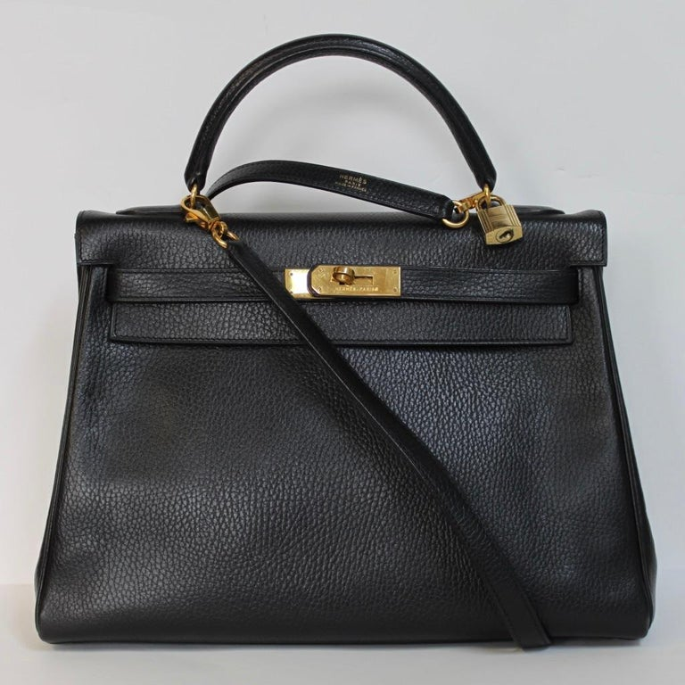 Black Hermes Kelly 32 Bag black leather with gold Hardware Tote/Crossbody For Sale
