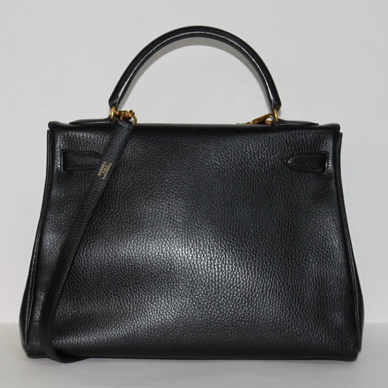 Hermes Kelly 32 Bag black leather with gold Hardware Tote/Crossbody For Sale 1