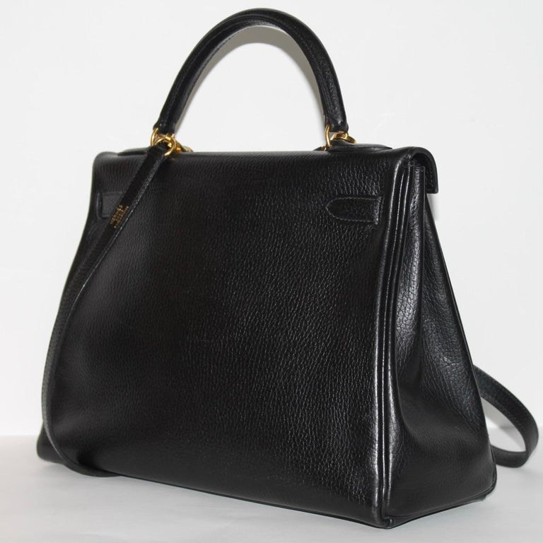 Hermes Kelly 32 Bag black leather with gold Hardware Tote/Crossbody For Sale 2