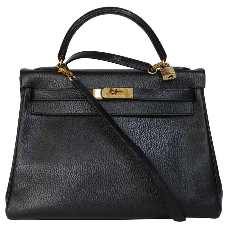 Hermes Kelly 32 Bag black leather with gold Hardware Tote/Crossbody For Sale