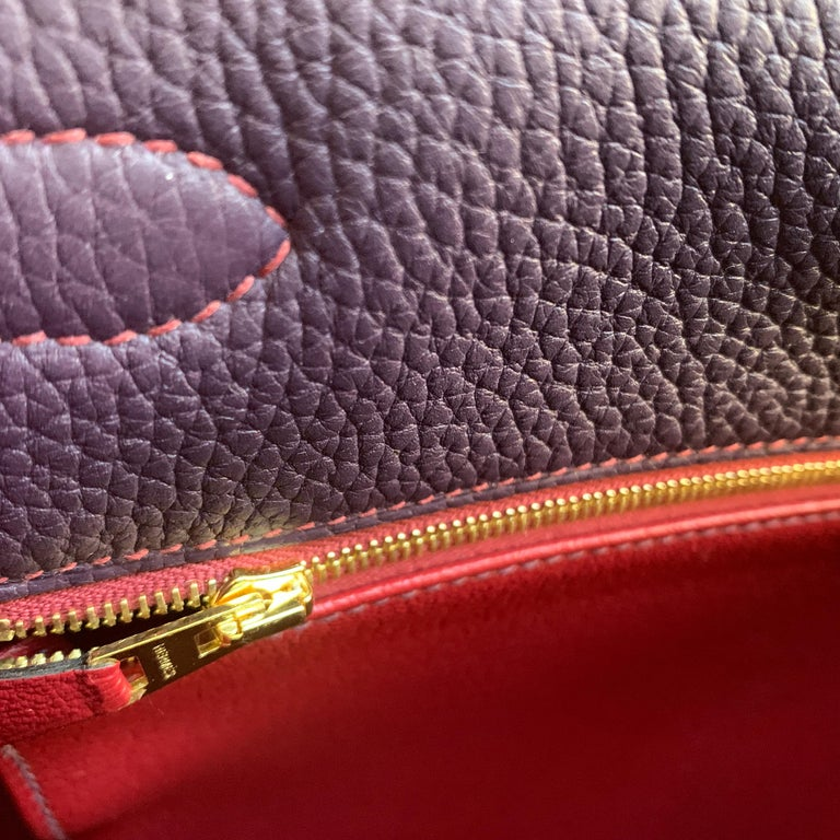 Hermes Kelly 32 Bag HSS Special order Raisin Pink Stitching Gold Hardware For Sale 6