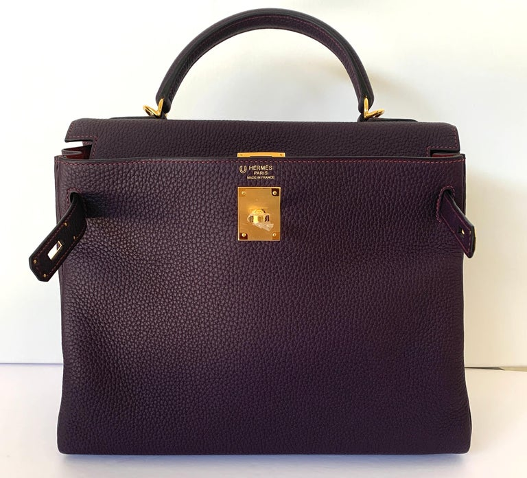 Hermes Special Order Kelly Bag 32Cm Horseshoe stamp 2020 Y Togo Leather Raisin reintroduced color, always a favorite A beautiful jeweltone! The camera does not capture how gorgeous and rich this color is Set off with contrast pink topstitching, pink