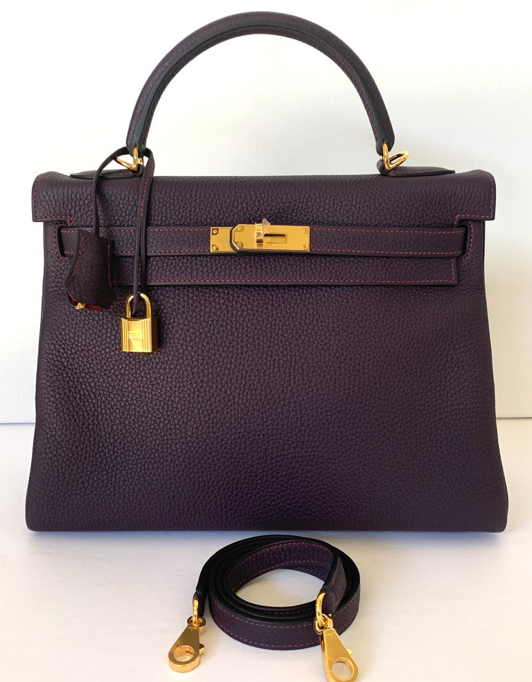 Hermes Kelly 32 Bag HSS Special order Raisin Pink Stitching Gold Hardware For Sale 1