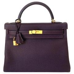 Hermes Kelly 32 Bag HSS Special order Raisin Pink Stitching Gold Hardware