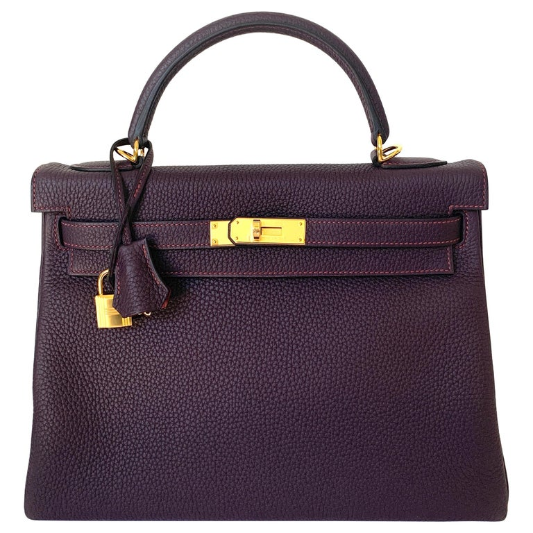 Hermes Kelly 32 Bag HSS Special order Raisin Pink Stitching Gold Hardware For Sale