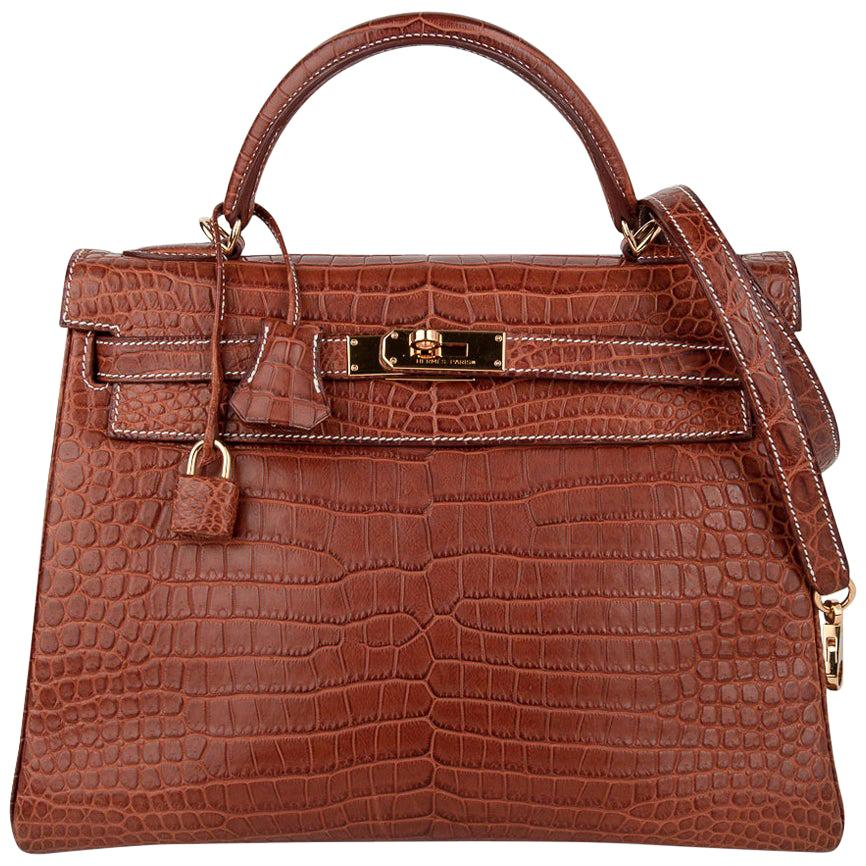 Hermes Kelly 32 Bag Matte Fauve Barenia Porosus Crocodile Gold Hardware