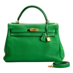 Hermes Kelly 32 Bamboo Clemence Gold Hardware Bag