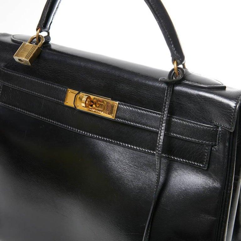 HERMES Kelly 32 Black Box Calfskin Bag For Sale 6