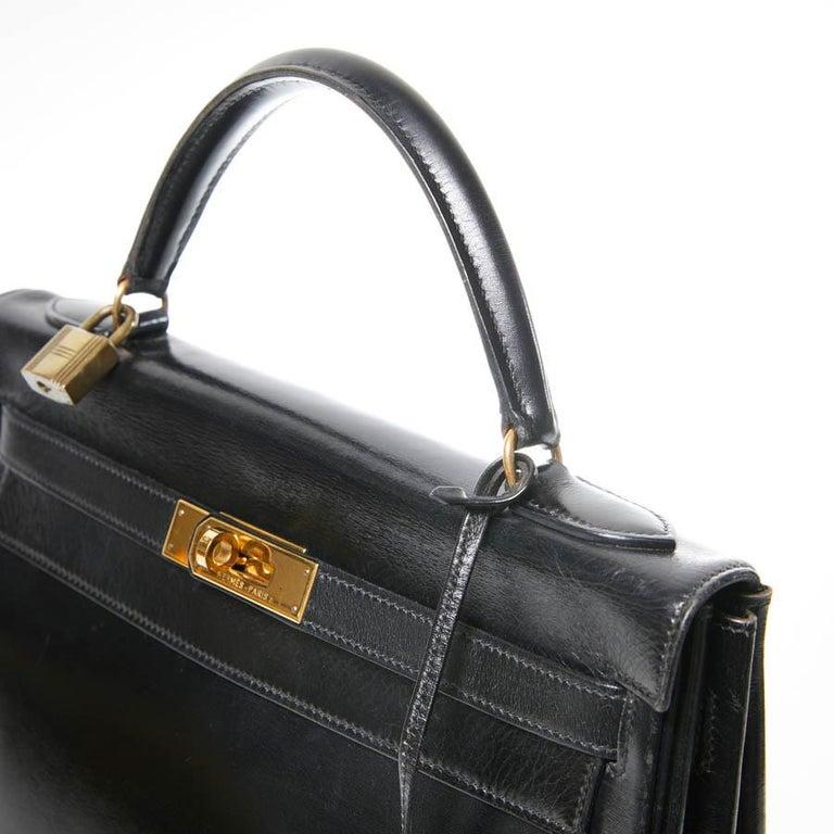 HERMES Kelly 32 Black Box Calfskin Bag For Sale 7
