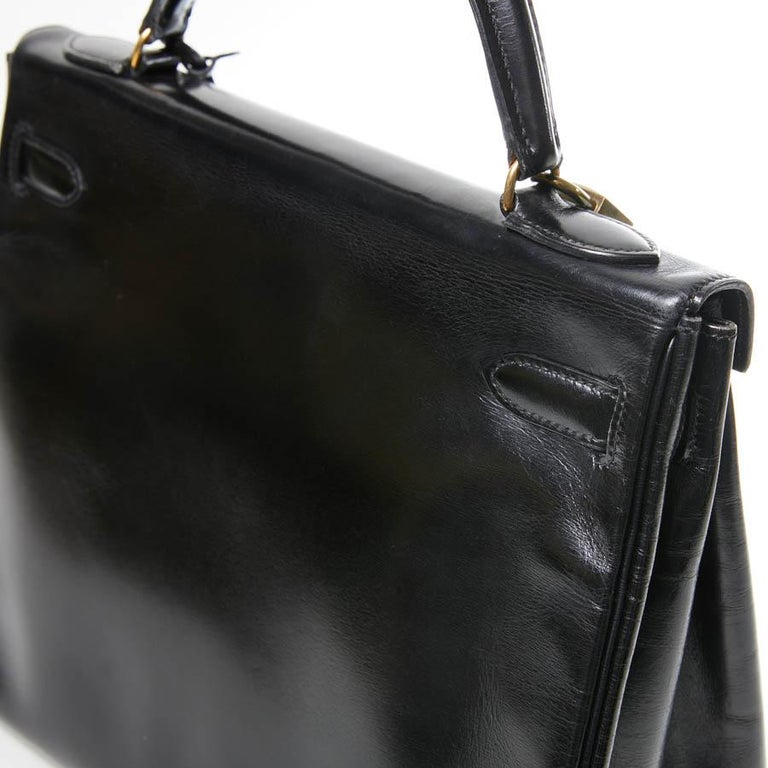 HERMES Kelly 32 Black Box Calfskin Bag For Sale 8