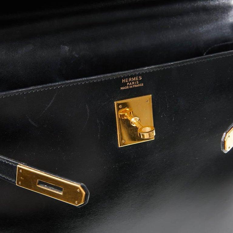 HERMES Kelly 32 Black Box Calfskin Bag For Sale 9