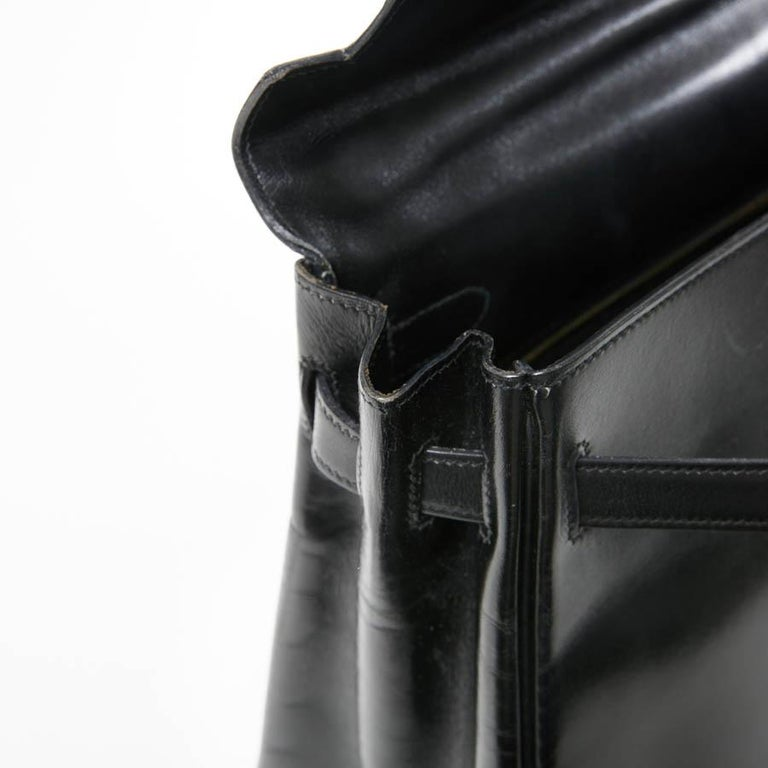 HERMES Kelly 32 Black Box Calfskin Bag For Sale 10