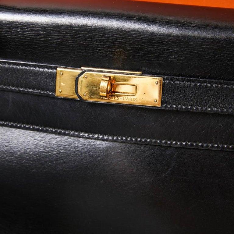 HERMES Kelly 32 Black Box Calfskin Bag For Sale 11