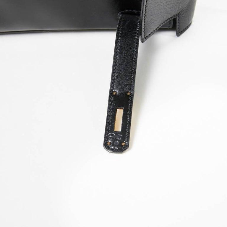 HERMES Kelly 32 Black Box Calfskin Bag For Sale 12