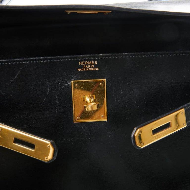 HERMES Kelly 32 Black Box Calfskin Bag For Sale 13