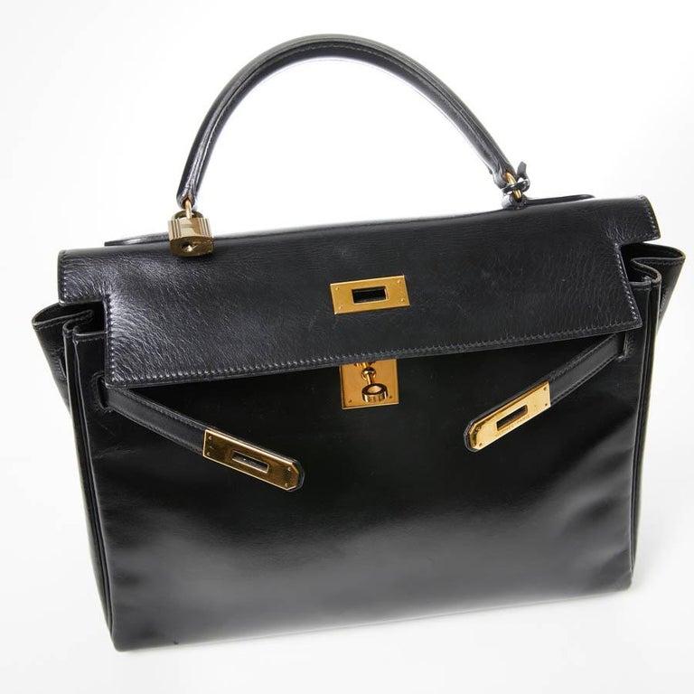 HERMES Kelly 32 Black Box Calfskin Bag For Sale 14