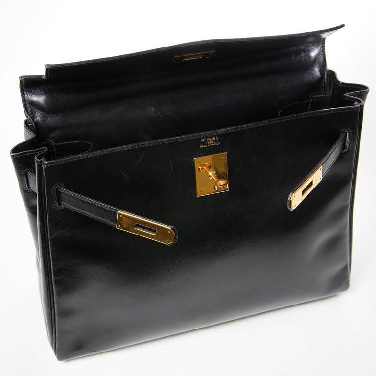 HERMES Kelly 32 Black Box Calfskin Bag For Sale 15