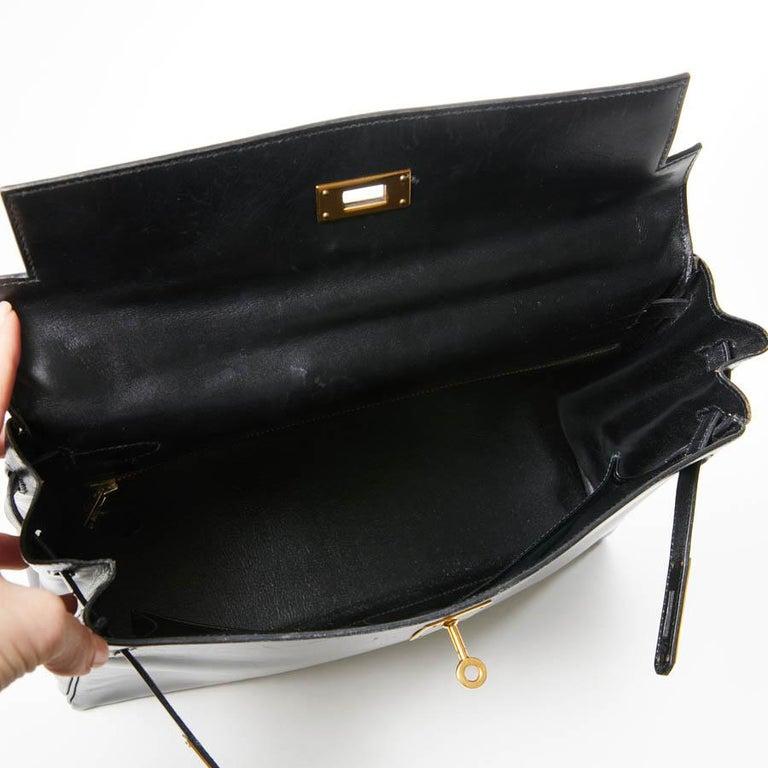 HERMES Kelly 32 Black Box Calfskin Bag For Sale 16