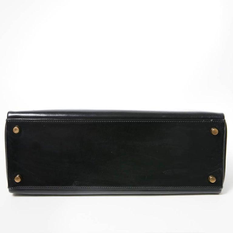 Women's HERMES Kelly 32 Black Box Calfskin Bag For Sale