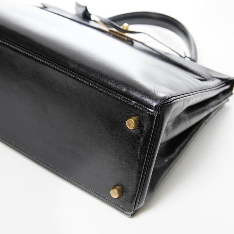 HERMES Kelly 32 Black Box Calfskin Bag For Sale 3