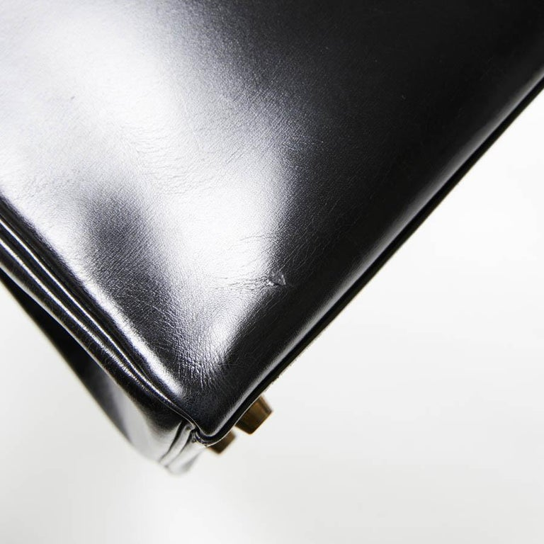 HERMES Kelly 32 Black Box Calfskin Bag For Sale 4