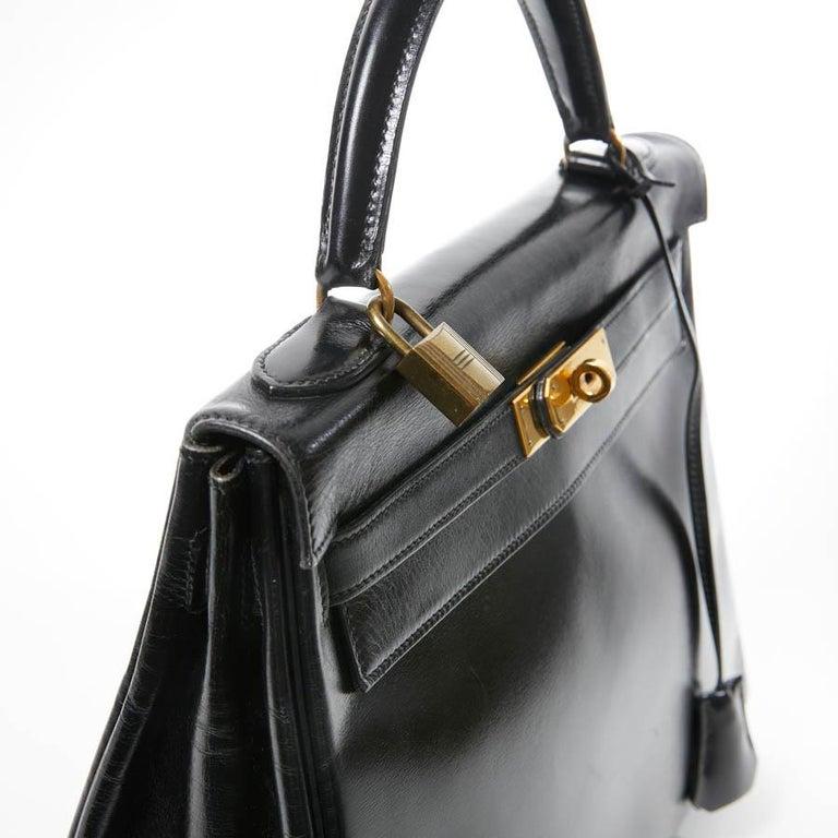 HERMES Kelly 32 Black Box Calfskin Bag For Sale 5