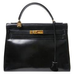 HERMES Kelly 32 Black Box Calfskin Bag
