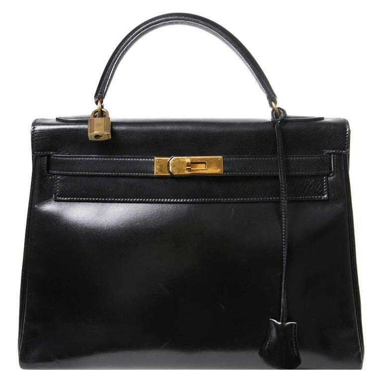 HERMES Kelly 32 Black Box Calfskin Bag For Sale