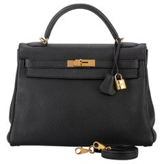 Hermes Kelly 32 Black Clemence Gold Bag